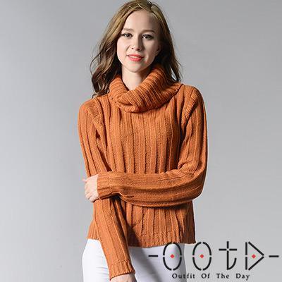 高領長袖坑條紋針織毛衣 (共三色)-OOTD