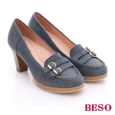 BESO 簡約知性 素面真皮雙飾扣粗跟鞋 藍色