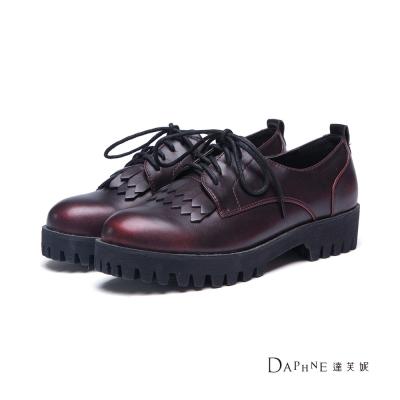 達芙妮DAPHNE 休閒鞋-金屬刷色流蘇鋸齒厚底牛津鞋-酒紅