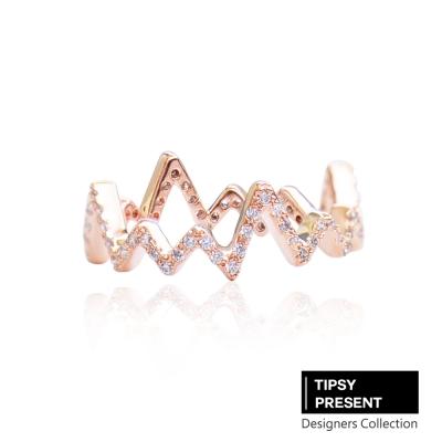 微醺禮物 戒指 頂級鋯石 合金鍍K金 心電圖 戒指