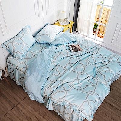 夢工場 徜徉海洋天絲頂規款四件套鋪棉床罩組-雙人