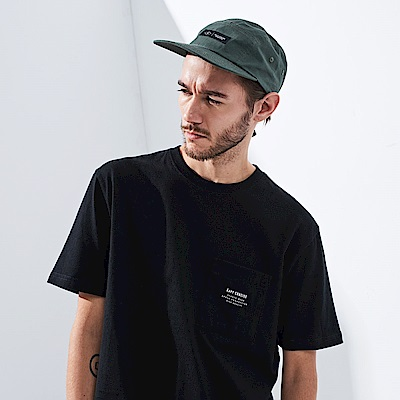 CACO-品牌口袋落肩短T.情侶款(兩色)-男【ONC004】