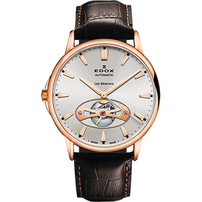 EDOX Les Bemonts Open Vision 薄曼系列機械腕錶-銀/42mm