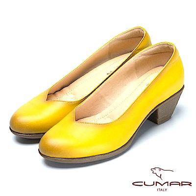 CUMAR氣墊大底-嚴選真皮氣墊高跟鞋-黃色