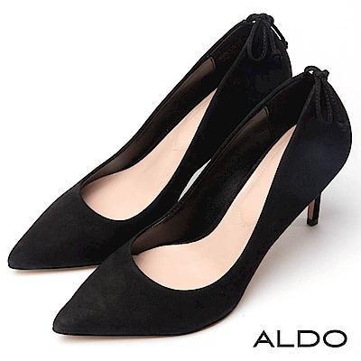 ALDO 原色真皮SEXY後綁帶蝴蝶結尖頭細高跟鞋~經典黑色