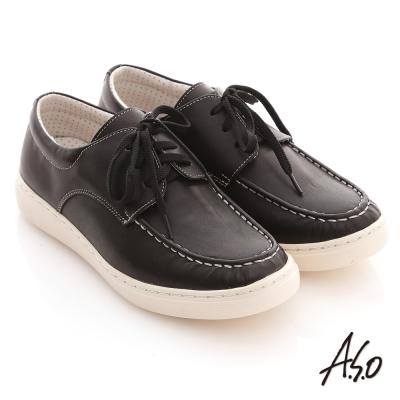 A.S.O 3D奈米系列 全真皮綁帶縫線休閒鞋 黑
