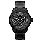 POLICE 復古率性時尚黑鋼手錶-黑/46mm
