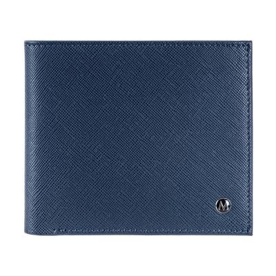 MONDAINE 瑞士國鐵牛皮8卡雙層鈔票短夾-十字紋藍