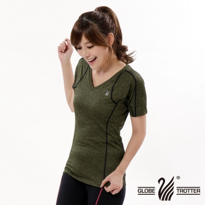 【遊遍天下】女款彈性吸排速乾激瘦V領衫GS20004灰綠