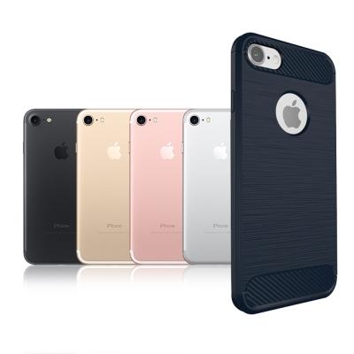 VXTRA iPhone 8/iPhone 7 防震時尚拉絲紋軟性手機殼 深海藍