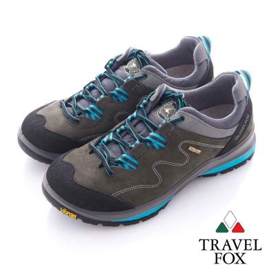 Travel Fox (男) 放輕鬆 Vibram安全大底登山越野運動鞋- 藍灰