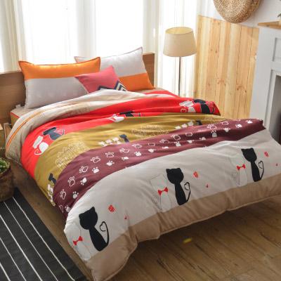 Goelia 貓咪家族 加大 活性印染超細纖 全鋪棉床包兩用被四件組
