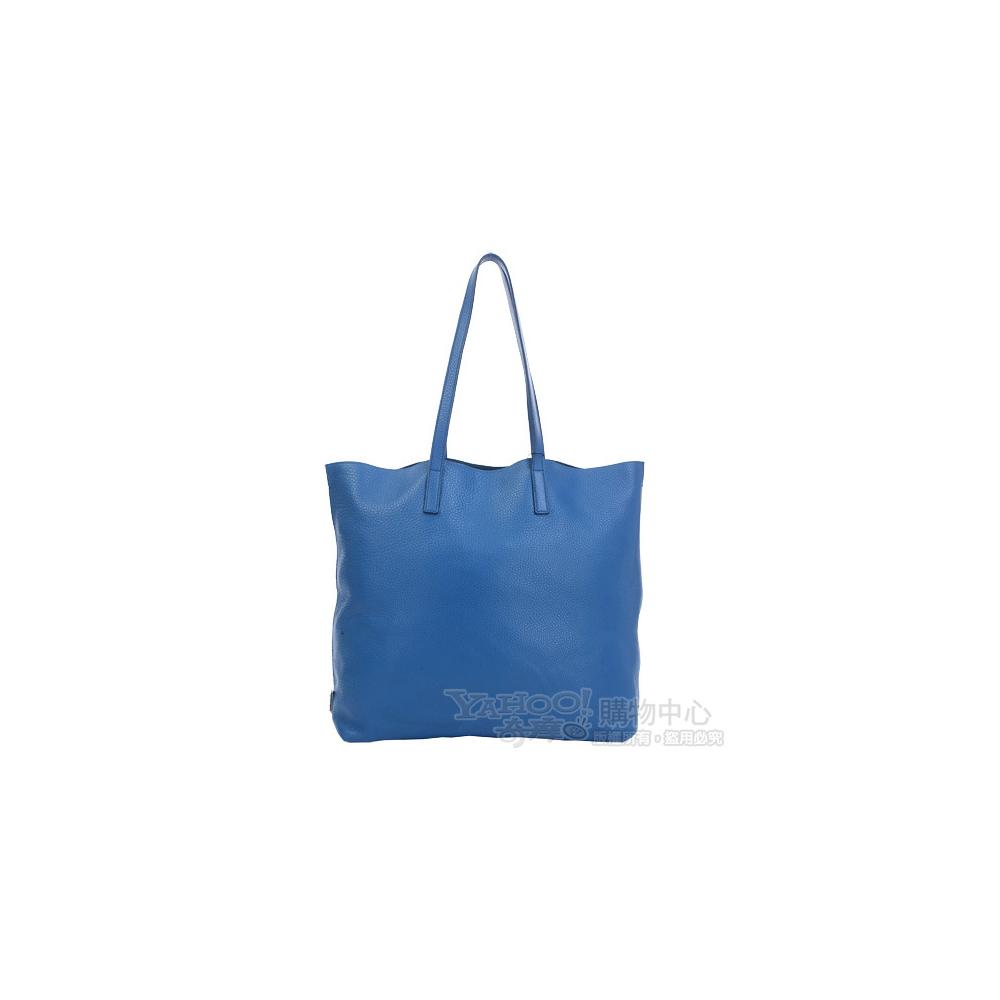 PRADA 藍色鹿皮肩背購物包