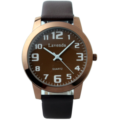 Lavenda 韓國簡約時尚皮帶腕錶-咖啡色錶帶/40mm