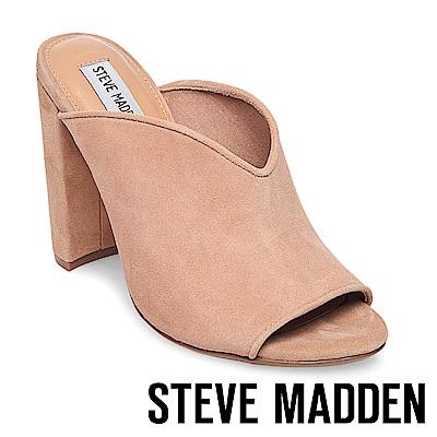 STEVE MADDEN-VISTA 魚口粗高跟涼拖鞋-粉裸