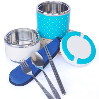 繽紛點點304不鏽鋼雙層便當盒(藍色一個) 餐具組(一個)