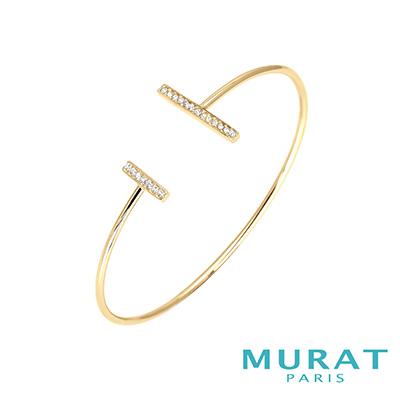 MURAT Paris米哈巴黎 極簡雙排鑽手環(金色款)