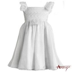 Annys優雅公主荷葉細肩刺繡緞紗洋裝*6105白