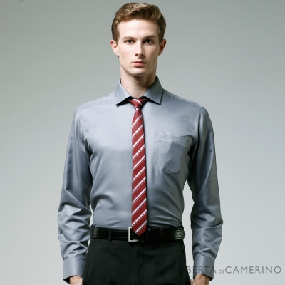 ROBERTA諾貝達 台灣製 修身版 吸溼排汗 純棉長袖襯衫 灰色