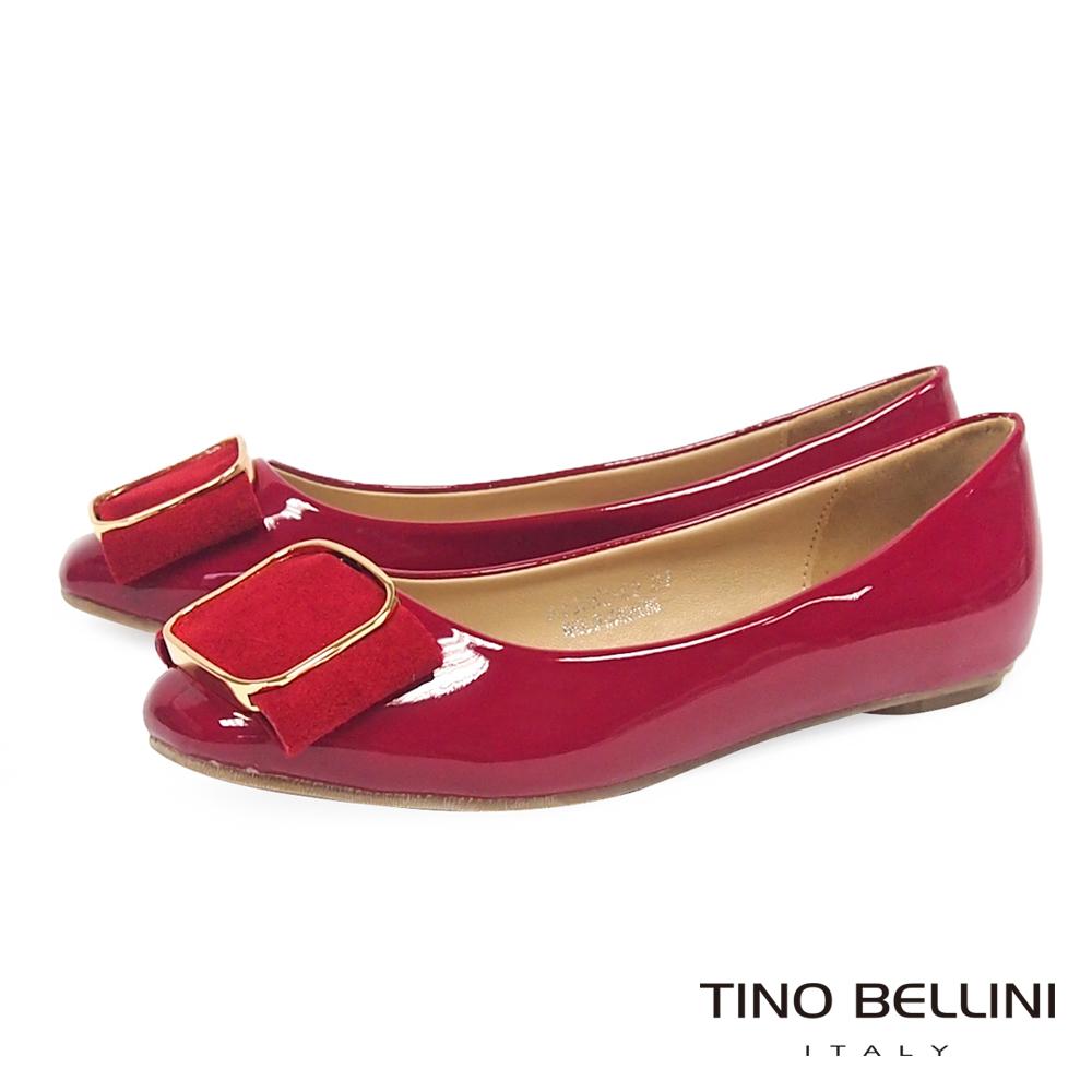 Tino Bellini 雋永優雅方釦小方頭平底娃娃鞋_紅