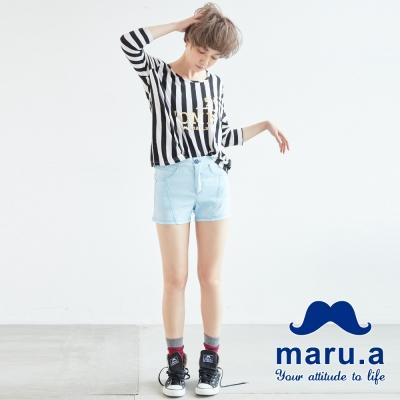 maru-a麻洛野-金屬釦飾立體縫線短褲