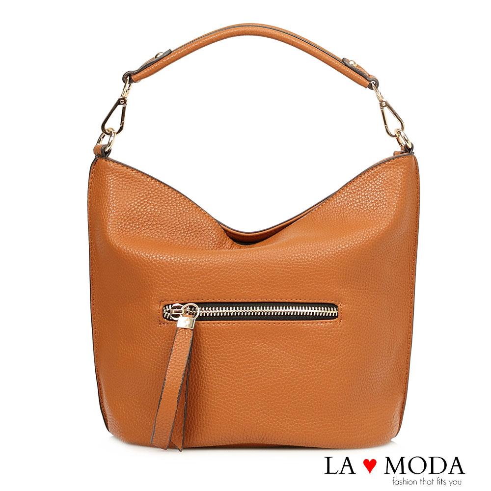 La Moda 熱銷雜誌高曝光款荔枝紋雙邊拉鍊手提肩背斜背包水桶包(棕)
