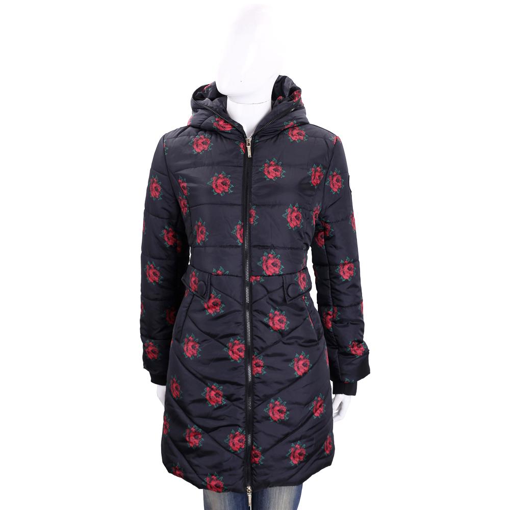 BLUGIRL-FOLIES 玫瑰花彩繪連帽絎縫外套