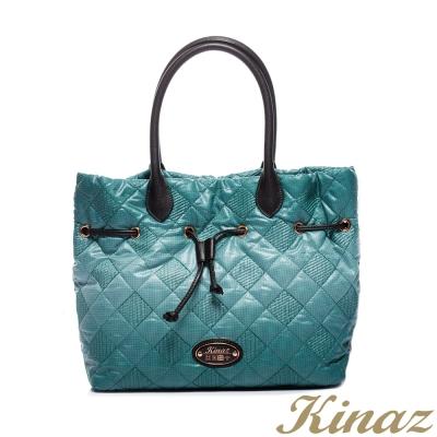 KINAZ - 彩色菱格系列~渲染輕盈漸層束口包-翠漾綠