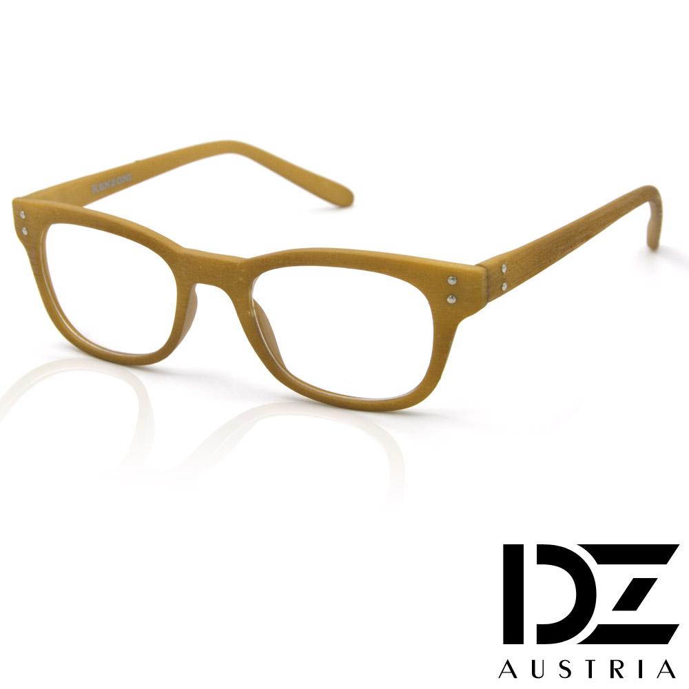 DZ 雙釘立體仿木紋 平光眼鏡(黃褐)