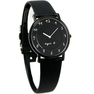 agnes b.簡約手繪時標時尚錶-黑/33mm