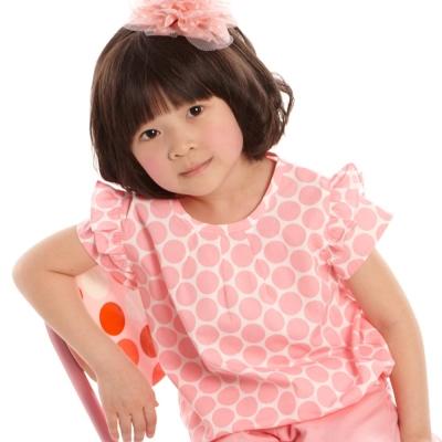 愛的世界 MYBABY 純棉圓領荷葉半袖上衣/1~3歲