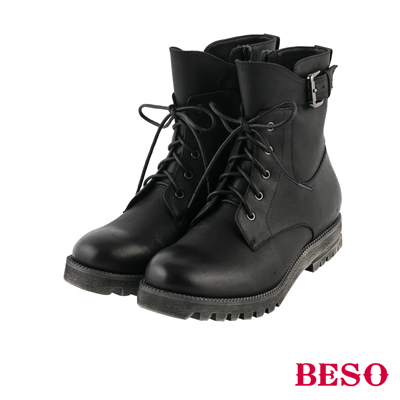 BESO 街頭率性 復古刷色輕量馬汀綁帶靴~黑