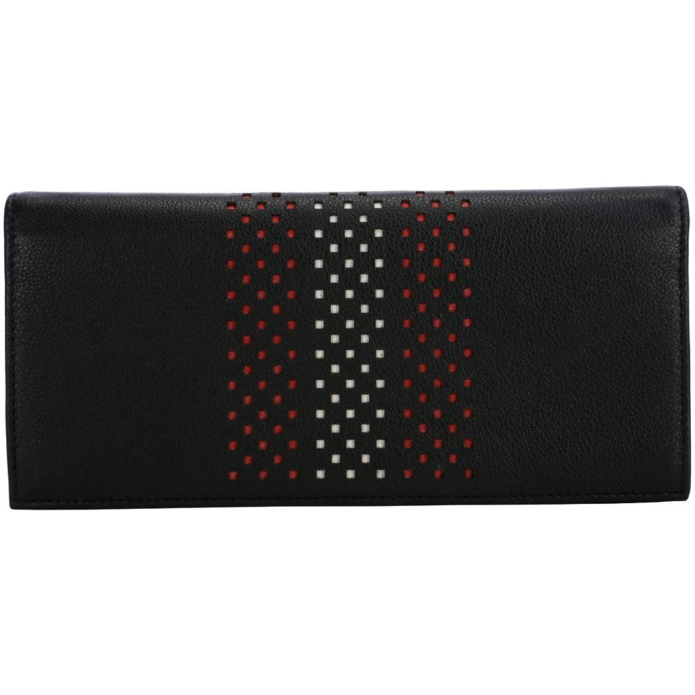 BALLY 經典織紋打洞設計對折長夾(黑色)