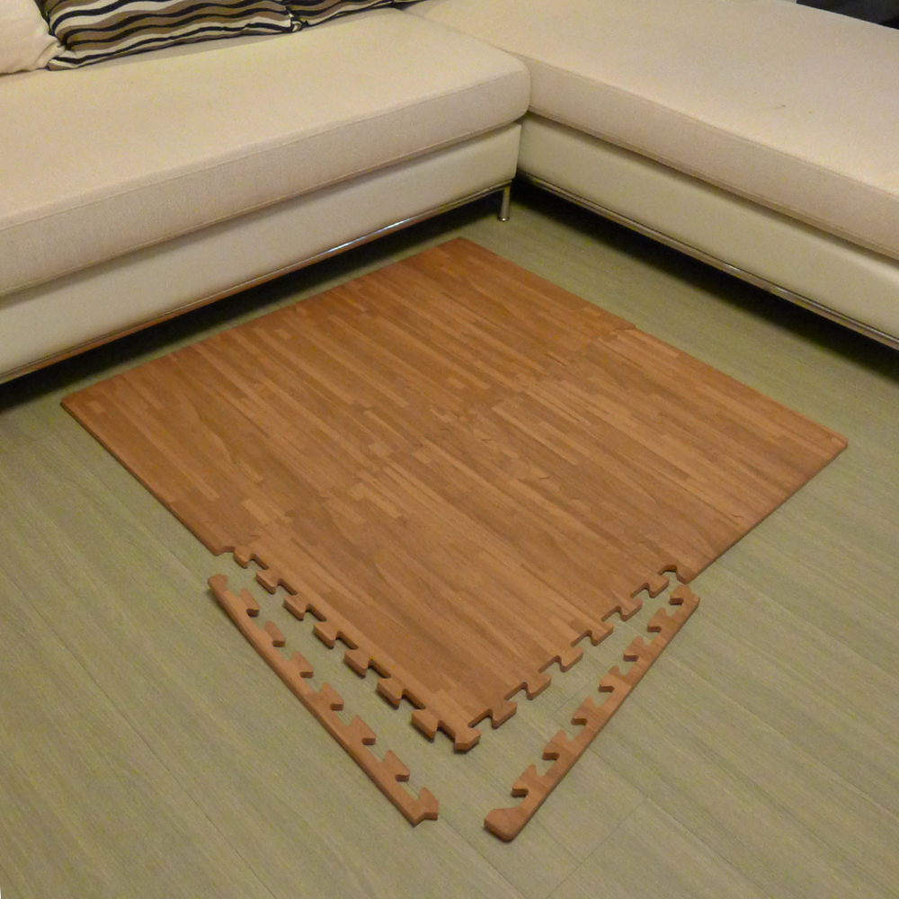 【新生活家】EVA耐磨拼花木紋附收邊45x45x1.2cm4P深色