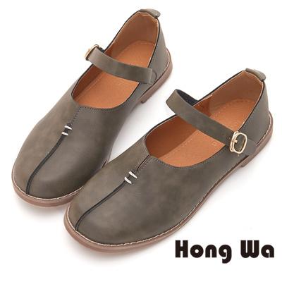 Hong Wa 環帶設計款經典包鞋 - 灰