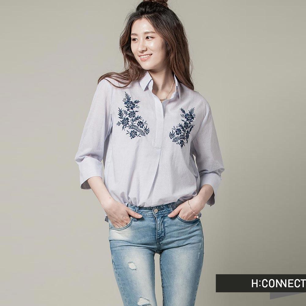 H:CONNECT 韓國品牌 女裝 - 半開襟雙邊繡花襯衫 - 藍(快)