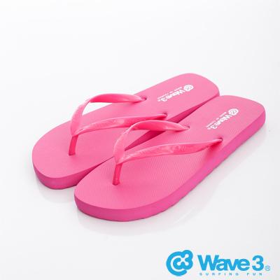 WAVE3【女】台灣製LOGO耳帶人字夾腳拖~桃紅