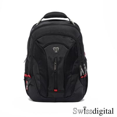 Swissdigital-簡約流線曲線後背包-黑