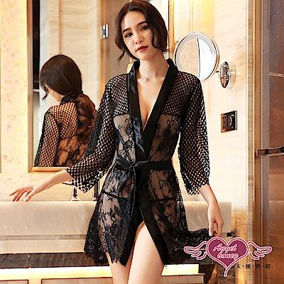罩衫 魅網情愫 蕾絲半透性感連身綁帶睡衣(黑F) AngelHoney天使霓裳