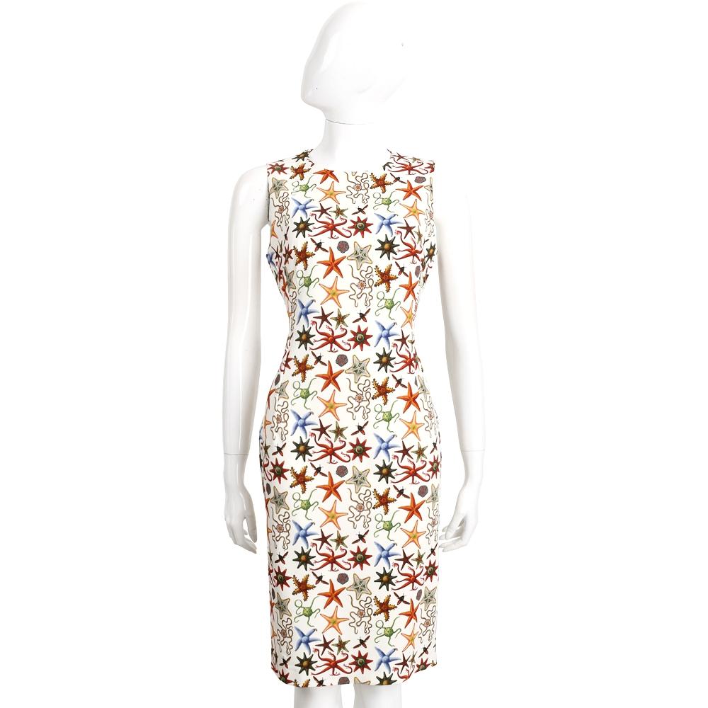 VERSACE 米白色珊瑚海星印花無袖洋裝