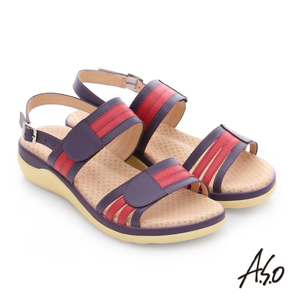 A.S.O 挺麗氣墊 真皮撞色奈米魔鬼氈氣墊涼拖鞋 紫色