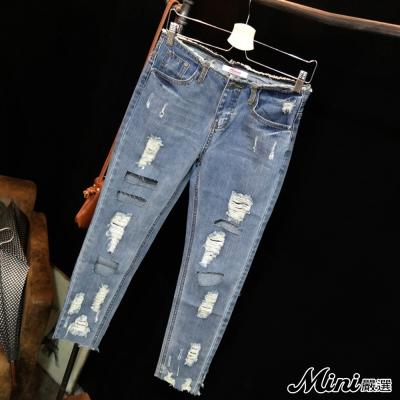 牛仔褲-不規則鏤空破洞磨毛長褲-Mini嚴選