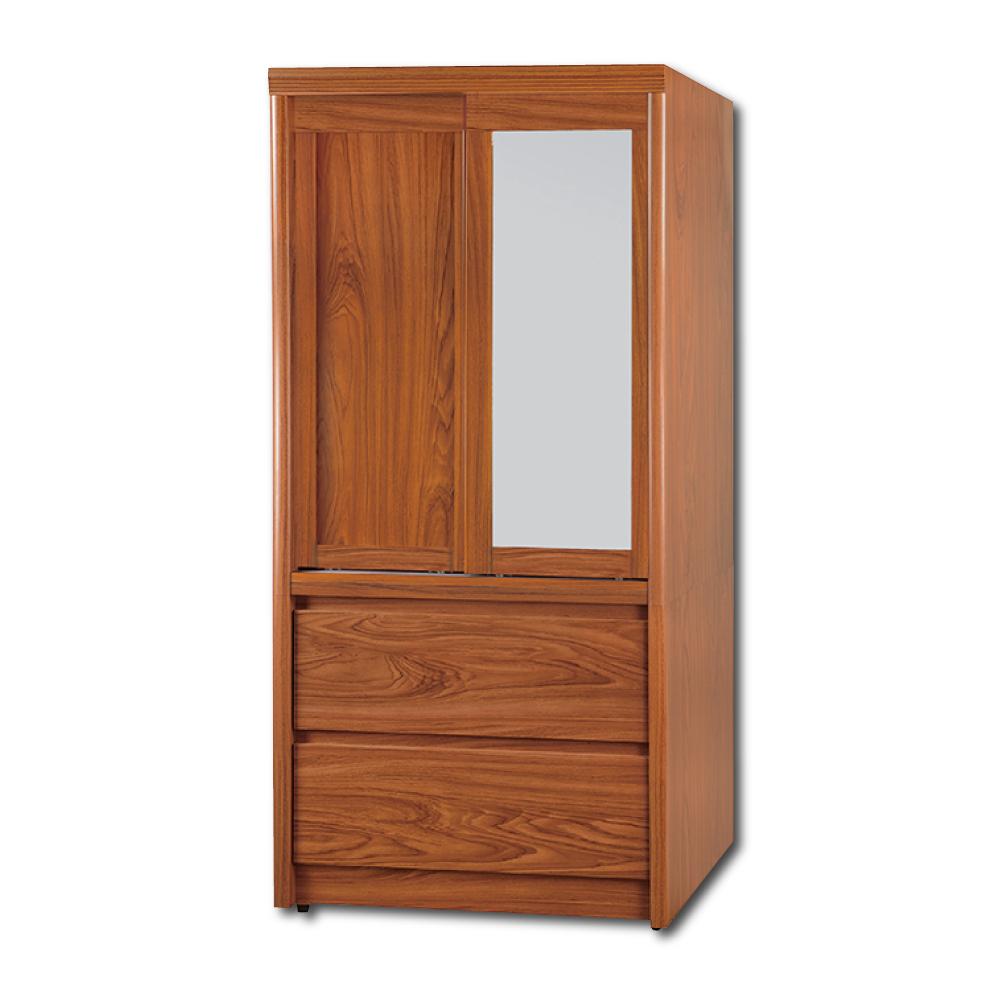 現代風 安東尼柚木色2.7尺拉門衣櫃 83x59x176cm