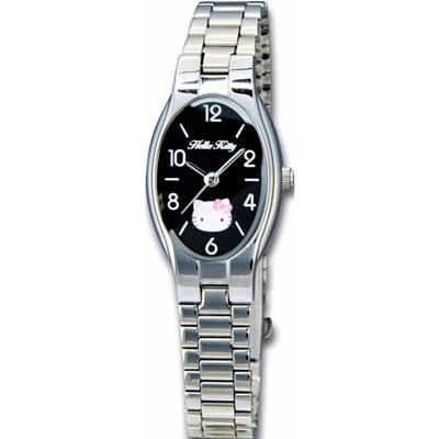 HELLO KITTY 凱蒂貓橢圓氣質簡約時尚錶款-銀x黑面/19mm