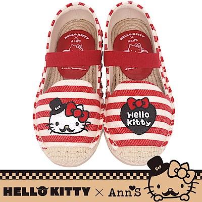 HELLO KITTY X Ann'S親子系列小幸運達利刺繡草編童鞋-紅