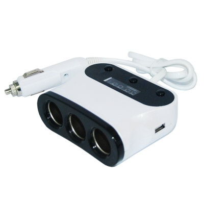 便利社 3孔獨立開關 雙USB 3點1A 電瓶電壓顯示-快