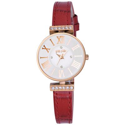 Folli Follie 歐風時尚晶鑽腕錶-白x紅色錶帶/25mm