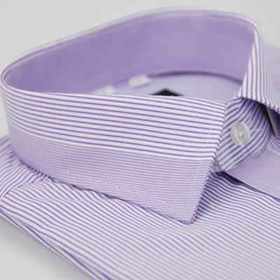 金‧安德森 粉紫條紋變化領窄版短袖襯衫