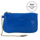 Sika義大利時尚真皮經典拉鍊零錢包A8238-05亮寶藍