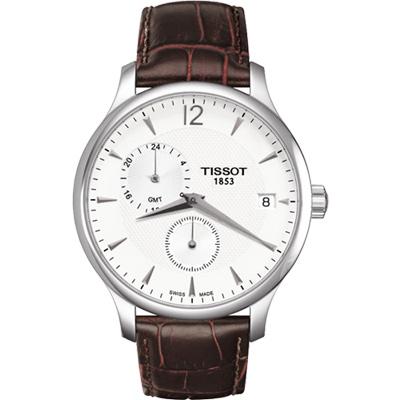 TISSOT Tradition GMT 二地時區經典腕錶-白/42mm T0636391603700